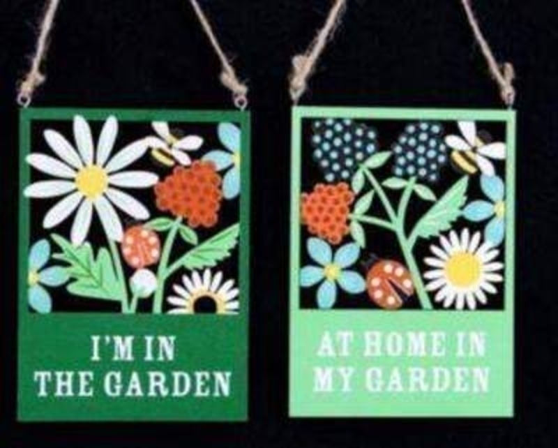 Choice Of 2 Garden Sign Decorations By Gisela Graham: Booker Gifts