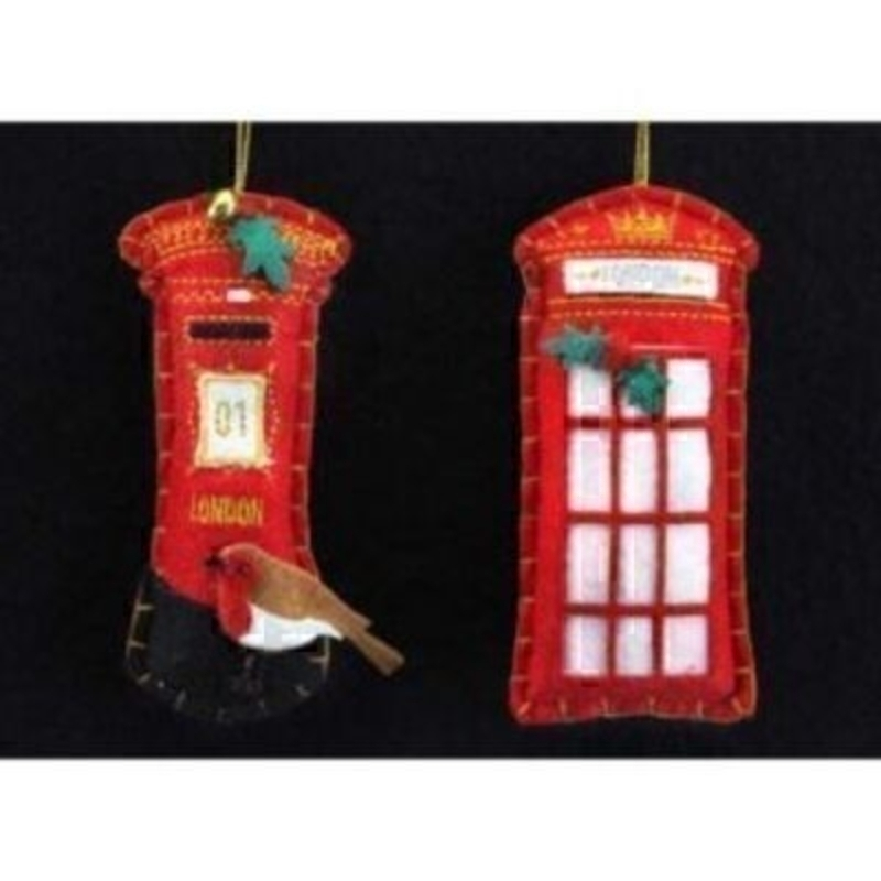 Beautiful felt Xmas Tree Decorations by the designer Gisela Graham. Choice of either a Telephone Box or Letter Box. With gold stitch and holly and robin detailing these are a lovely example of the designer Gisela Graham fantastic Hanging Xmas Tree decorations Size 11x5x1cm<br><br>