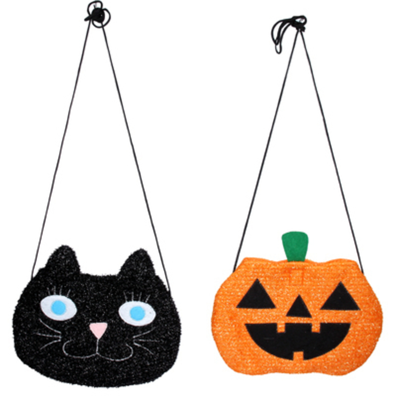 Halloween Trick or Treat bags - choice of 2 - either a black cat or an orange pumpkin.  If you have a preference please specify when ordering.  Perfect for trick or treating this Halloween night.  The fabric Halloween bags are light and durable to keep your treats safe until you get home to munch them all. Made by designer Gisela Graham.
