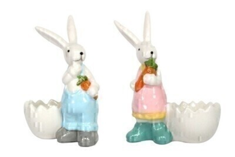 Choice of 2 Ceramic Easter Bunny Egg Cup by Gisela Graham: Booker Gifts