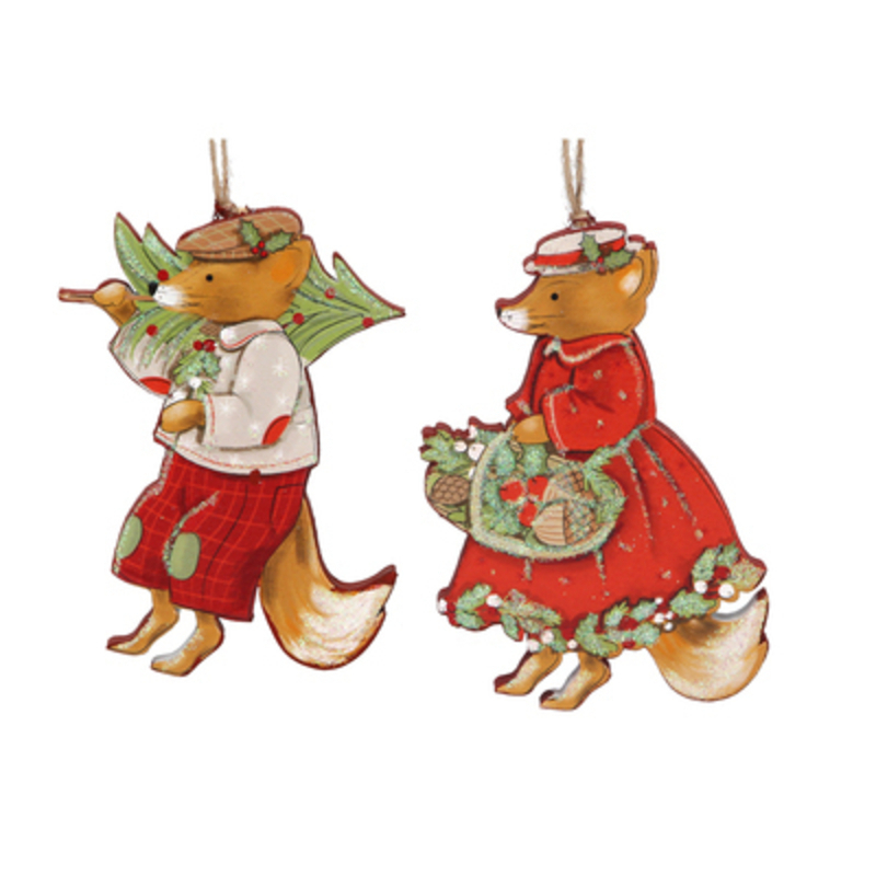 Wooden Fox Christmas Tree hanging decoration by Gisela Graham would look lovely on your tree this Christmas. Choice of 2 either Mr Fox or Mrs Fox - If you have a preference please specify when ordering. This fesive decoration by Gisela Graham will delight for years to come. It will compliment any Christmas Tree and will bring Christmas cheer to children at Christmas time year after year. Remember Booker Flowers and Gifts for Gisela Graham Christmas Decorations. Please note this is not a set of 2 - there is a choice of 2 different designs.