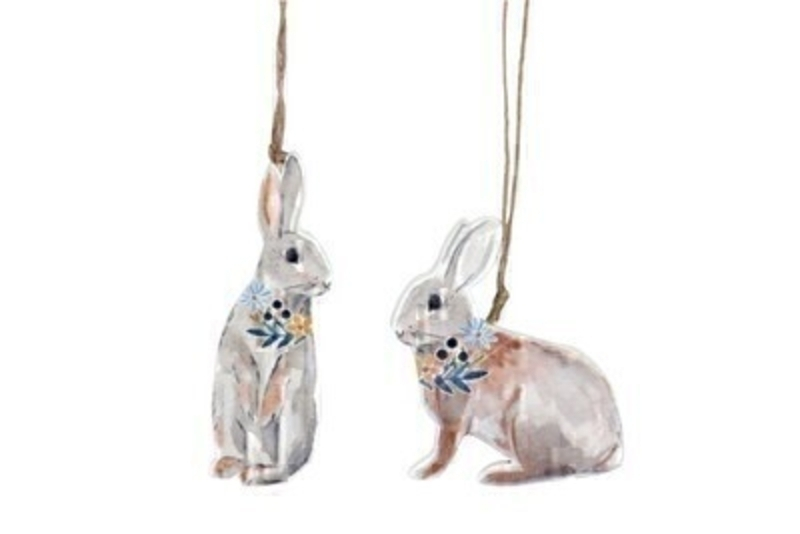 Choice of 2 Wood Easter Bunny Hanging Decoration by Gisela Graham: Booker Gifts
