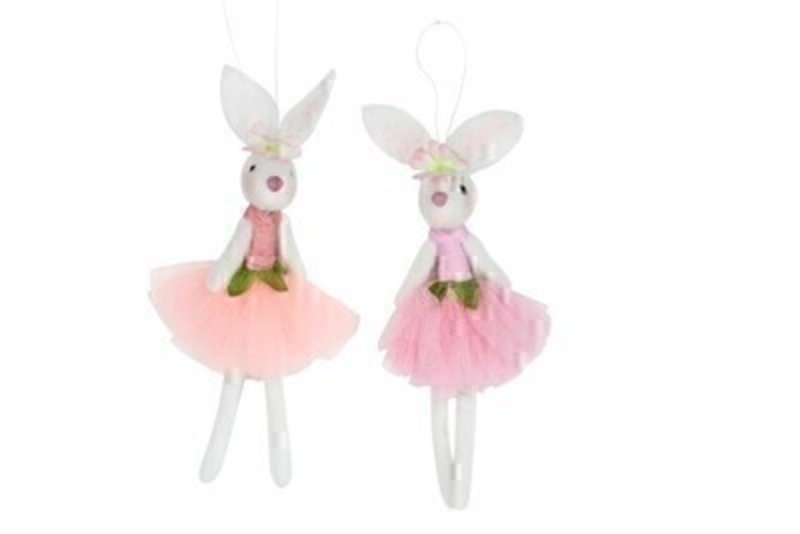 Choice of 2 Wool Ballerina Easter Bunny Decoration by Gisela Graham: Booker Gifts