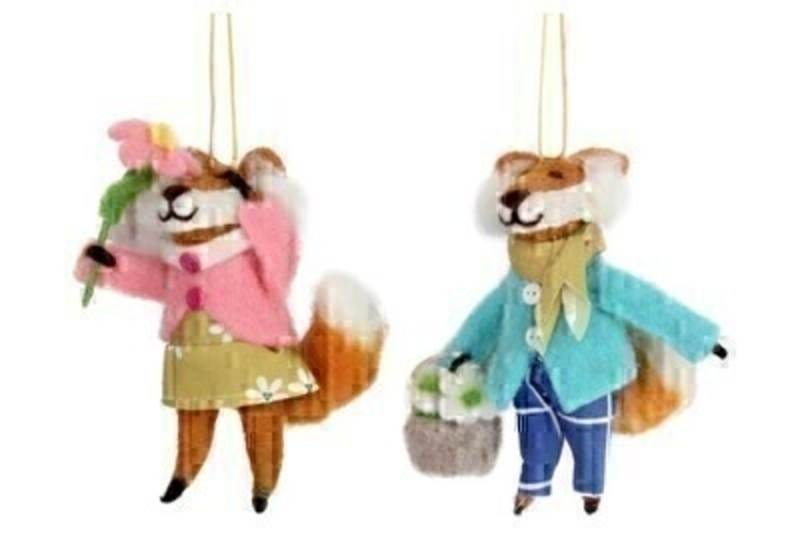 Choice of 2 Wool Easter Hanging Fox Decoration by Gisela Graham: Booker Gifts