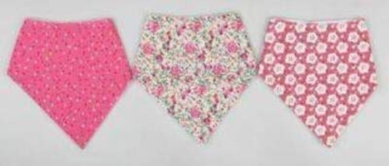 Choice of 3 Assorted Baby Girl Bibs by Sass and Bell. Great gift for a Baby Girl. These bandana bibs by Sass and Bell ruffle up under the baby's neck so you don't have the 'hole' where food gets down as with traditional bibs. Choice of 3 Dotty - Multico