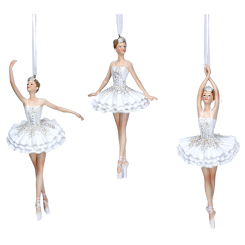 Decorative White Ballerina Christmas Tree hanging decoration by Gisela Graham would look lovely on your tree this Christmas. Choice of 3 - If you have a preference please specify when ordering. This fesive white resin ornament by Gisela Graham will delight for years to come. It will compliment any Christmas Tree and will bring Christmas cheer to children at Christmas time year after year. Remember Booker Flowers and Gifts for Gisela Graham Christmas Decorations. Please note this is not a set of 3 - there is a choice of 3 different designs.