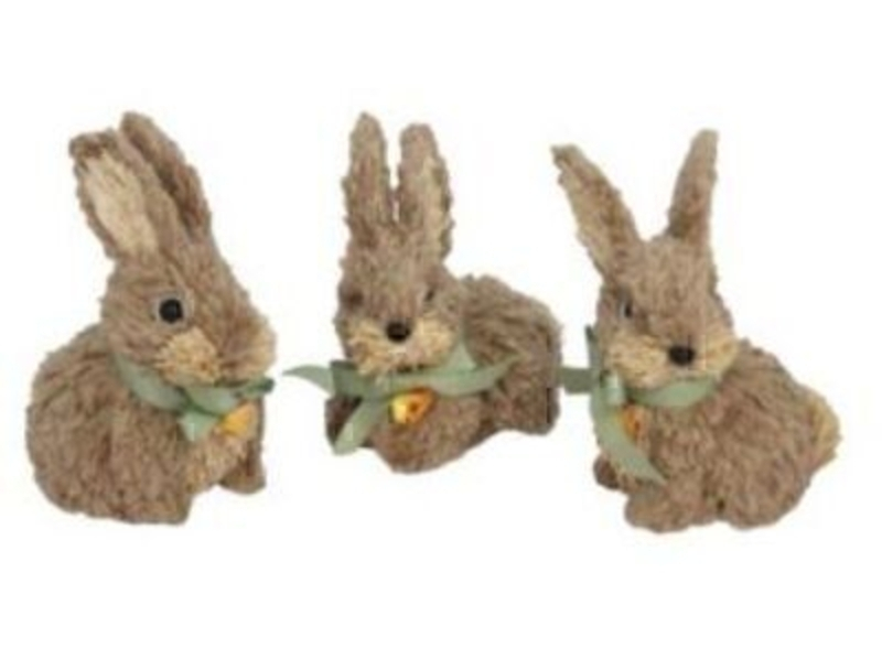 Choice of 3 Brown Jute Bunny Ornaments by Gisela Graham: Booker Gifts