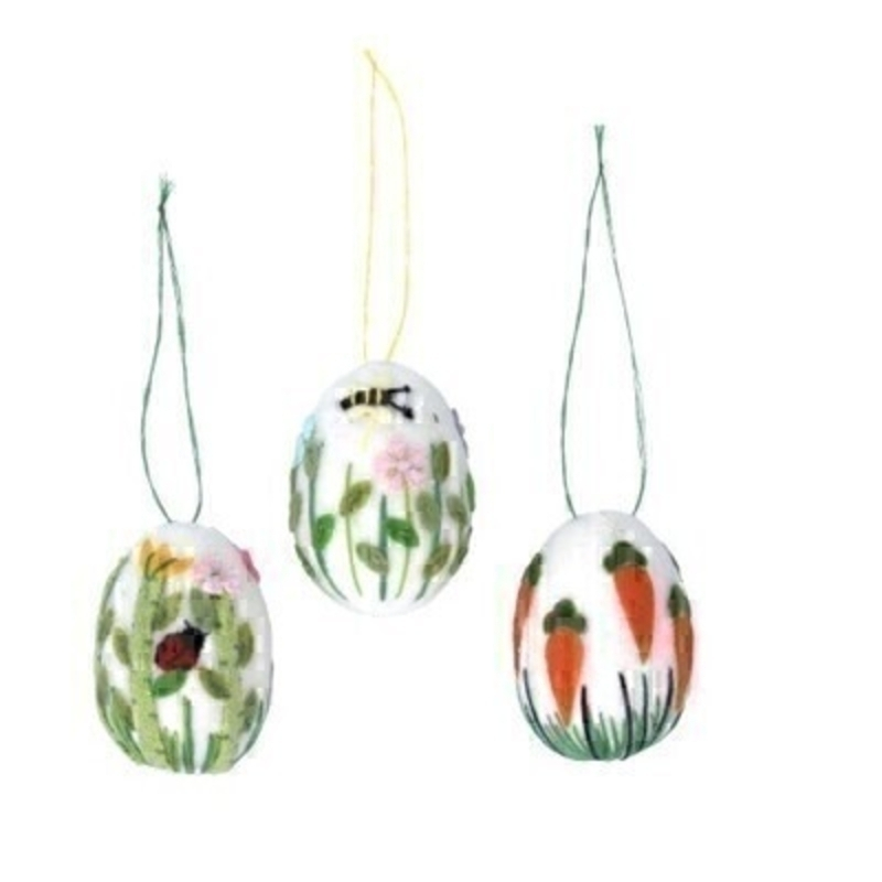 If you are looking for some Easter decorations for your Easter Tree then be sure not to miss these wool patterned Easter Egg hanging decorations by designer Gisela Graham.  Choice of 3 available - ladybird or bee or carrot design (please specify when ordering which one you would like) Comes complete with string to hang.