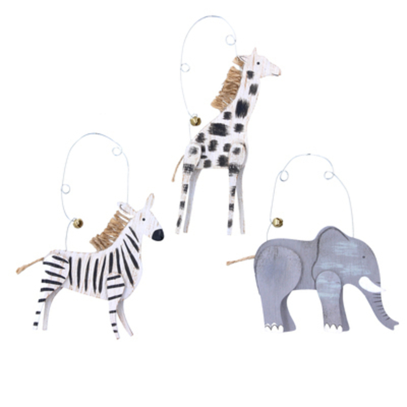 Festive wooden wild animal hanging Christmas Tree decoration by designer Gisela Graham.  Choice of 3 - If you have a preference please specify when ordering. Choose from Zebra Giraffe or an Elephant. What a jolly addition to your Christmas decorations. Sure to make everyone smile. Made from wood by Gisela Graham they will delight for years to come. It will compliment any Christmas Tree and will bring Christmas cheer to children at Christmas time year after year. Remember Booker Flowers and Gifts for Gisela Graham Christmas Decorations. Please note this is not a set of 3 - there is a choice of 3 different designs.