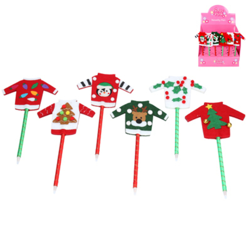 This Felt Christmas Jumper Pen by designer Gisela Graham is the perfect novelty gift or stocking filler. Choice of 6 festive pens - If you have a preference please specify when ordering. Remember Booker Flowers and Gifts for Gisela Graham Christmas Decorations and Gifts. Please note this is not a set of 6 - there is a choice of 6 different designs. Size: (LxWxD) 20x11x1cm.