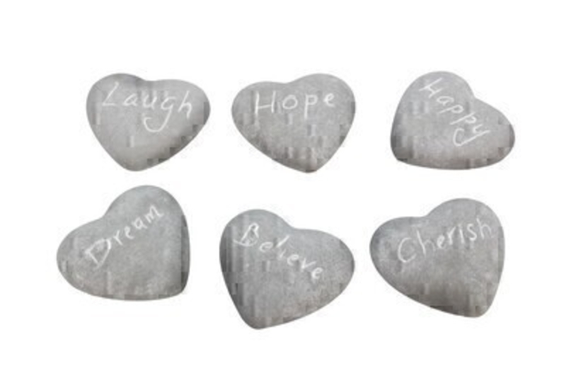 Choice of 6 Sentimental Stone Heart Ornament by Gisela Graham: Booker Gifts