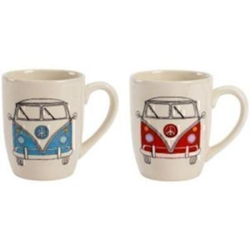 Choice of Blue or Red Campervan Mug by Transomnia: Booker Gifts