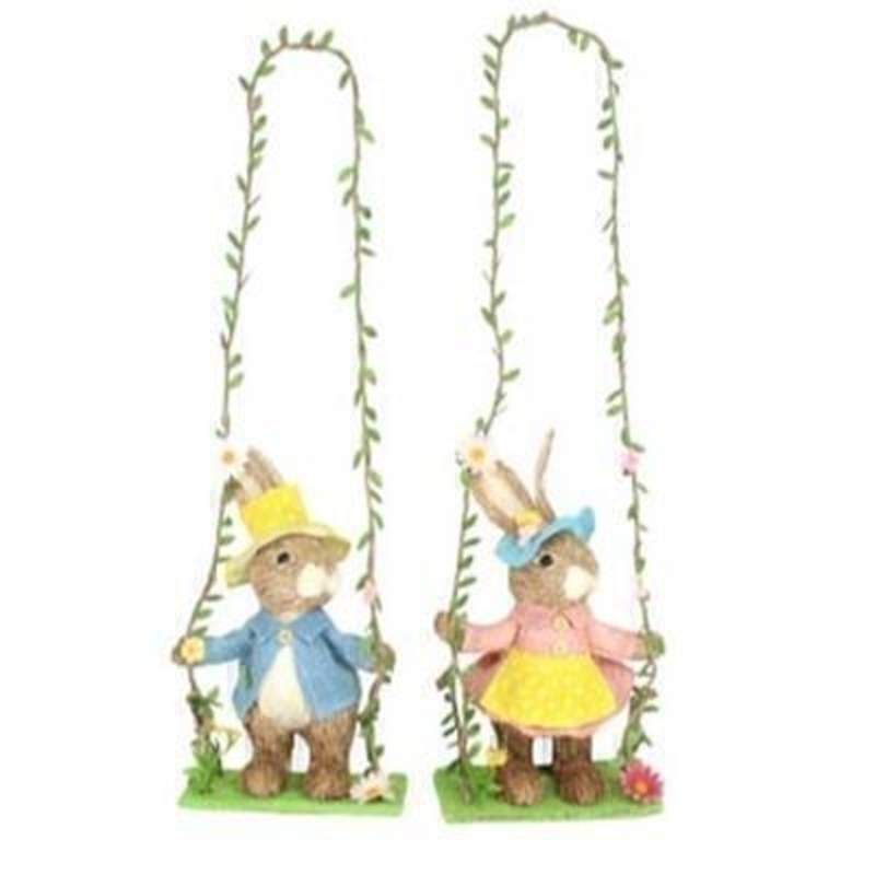 Choice of Boy Girl Bunny Rabbit on Swing Easter Decoration by Gisela Graham: Booker Gifts