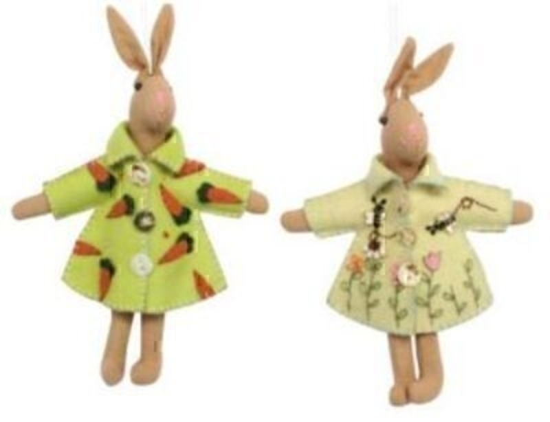 Choice of Brown Felt Bunny with an Embroidered Coat: Booker Gifts