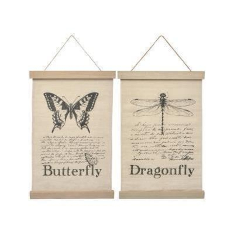 This is a choice of either Butterfly or Dragonfly fabric banner sign perfect for hanging on the wall designed by Transomnia