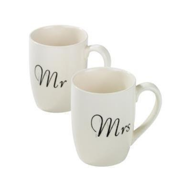 Choice of Mr or Mrs mug both available in white designed by Transomnia