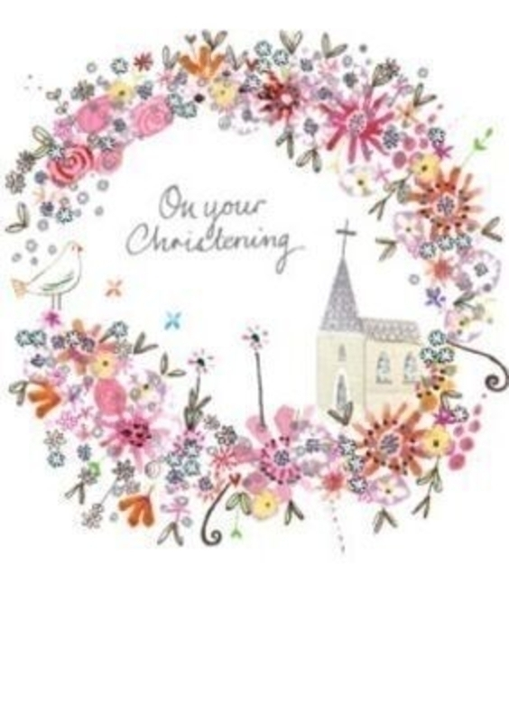 Christening Card Church in Flower Circle by Paper Rose. This quality Christening card is designed under the Daisy Patch label at Paper Rose and depicts a church in a flower circle with a dove and has hot foil stamp detailing. Congratulations on your very special day on the inside. Comes with a lilac envelope. Size 17x12cm