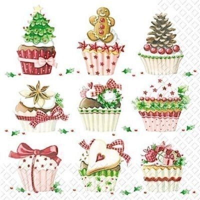 Christmas Cupcakes Karuna Napkins by Stewo. 20 napkins in pack. 3 ply. 33x33cm. Environmentally friendly cellulose printed with water-based inks.