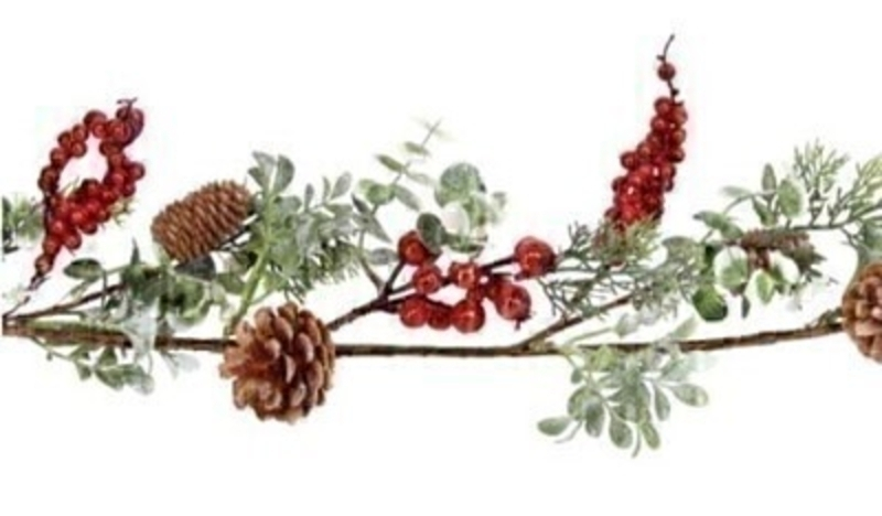 Christmas garland with berries frosted eucalyptus and pinecones By Gisela Graham. This festive red and green garland by Gisela Graham will delight for years to come. It will compliment any colour scheme and will bring Christmas cheer year after year. Remember Booker Flowers and Gifts for Gisela Graham Christmas Decorations.