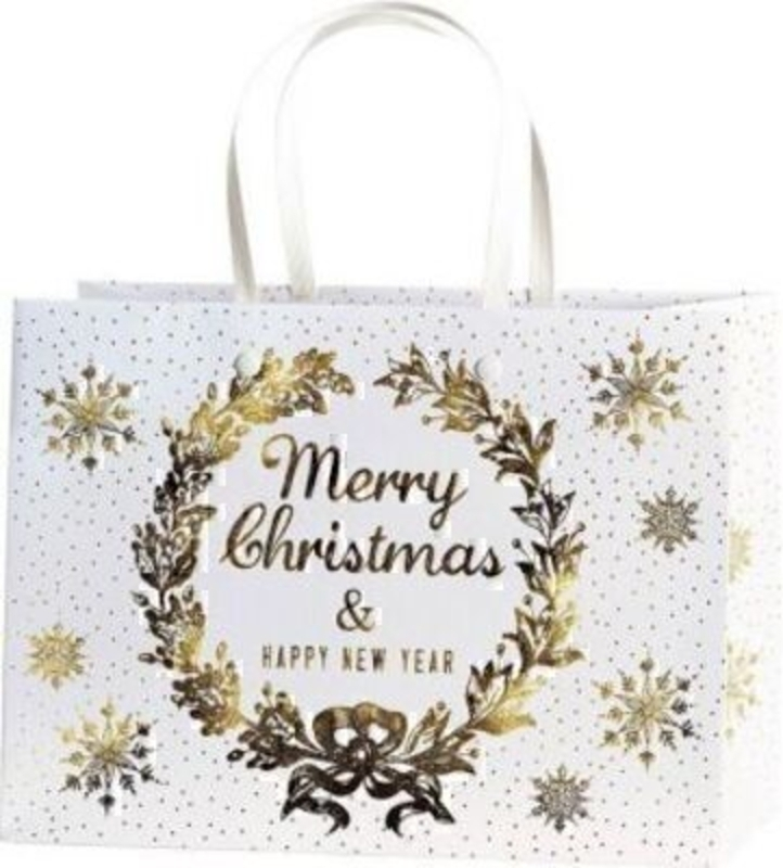 Christmas Gift Bag White Gold Belle Gold Medium by Stewo. This quality gift bag by Swiss designers Stewo will not disappoint. It has all the quality and detailing you would expect from Stewo. This gift bag is made from thick card. The strong handles are h
