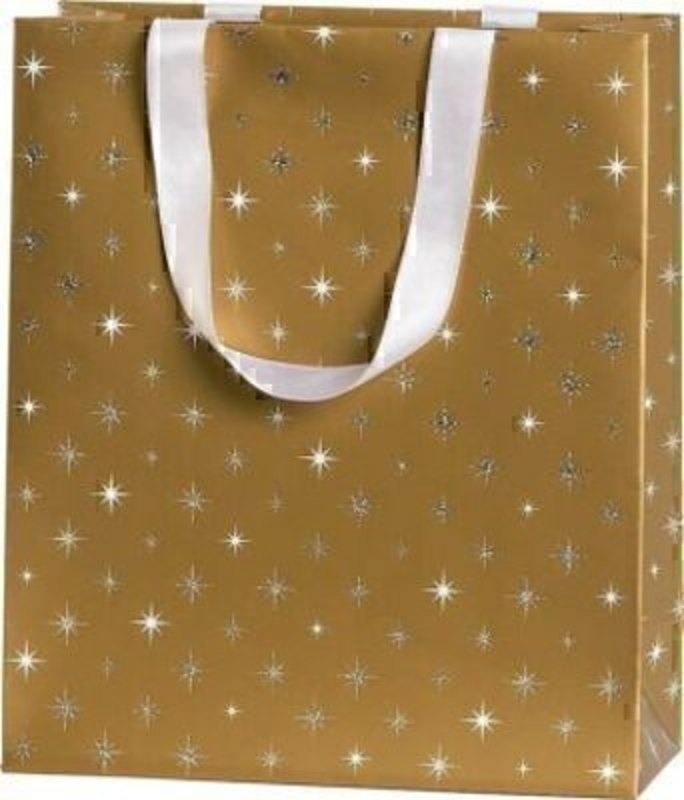 Christmas Gift Bag Gold Silver Stars Corona Medium Gold by Stewo This quality gift bag by Swiss designers Stewo will not disappoint. It has all the quality and detailing you would expect from Stewo. This gift bag is made from thick card. The strong handle