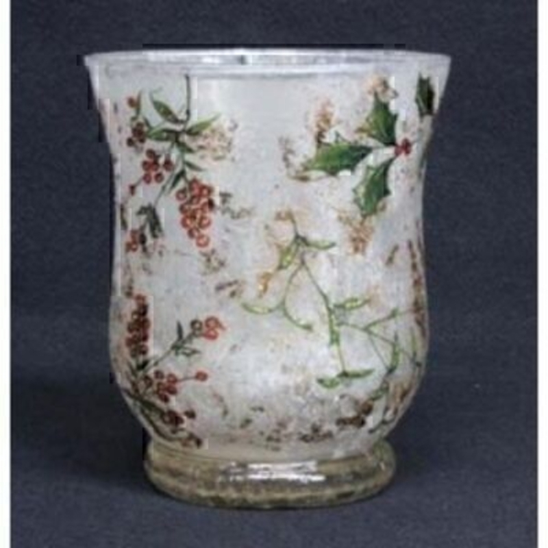 Christmas Holly Glass Tea Light Holder Gisela Graham: Booker Gifts
