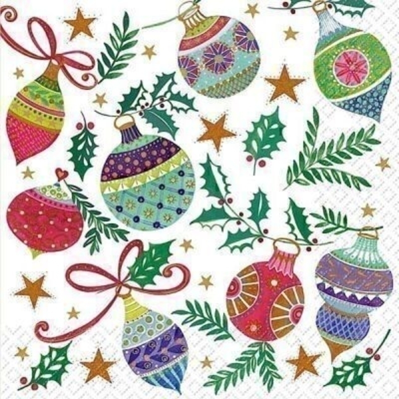 Christmas Napkins Coloured Baubles Frederika by Stewo. Brightly coloured baubles on white background. 20 napkins in pack. 3 ply. 33x33cm. Environmentally friendly cellulose printed with water-based inks.