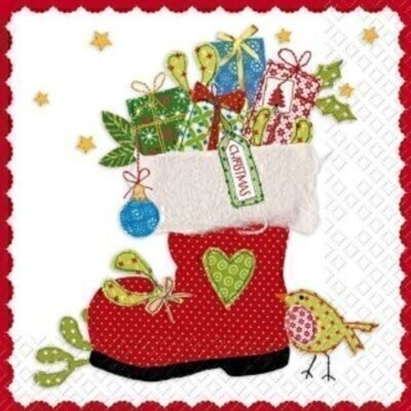 Gorgeous Christmas Santa boot with presents design napkin with an applique effect by Swiss designer Stewo. 6 napkins in a pack. 3-ply. Size: 33x33cm. Environmentally friendly cellulose printed with water-based inks.