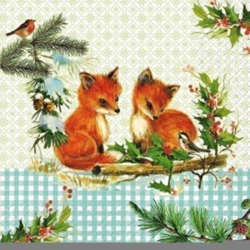 Gorgeous Christmas napkin with a woodland design featuring Fox Cubs - Robins and other Christmas nature by Swiss designer Stewo. 6 napkins in a pack. 3-ply. Size: 33x33cm. Environmentally friendly cellulose printed with water-based inks.
