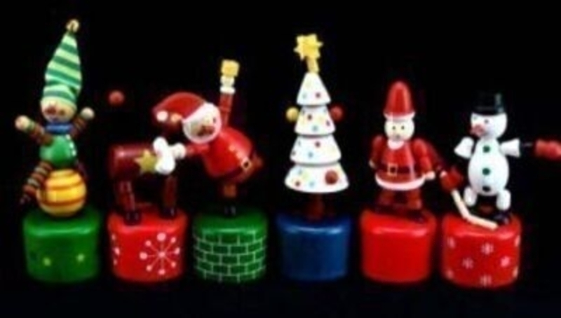 Wooden Christmas push up toy by Gisela Graham -  Choice of Jester - Reindeer - Santa green base - Santa red base - Tree - Snowman. If preference please specify when ordering. Size 12cm