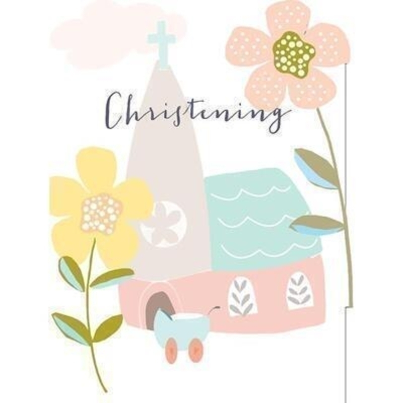 Church Christening card by Liz and Pip. This quality christening card by Liz and Pip is Embossed and Hot Foiled stamped with a picture of a church and baby in a pram. ''Christening have a very special day'' On the front. Blank inside for your own message. 120x150mm