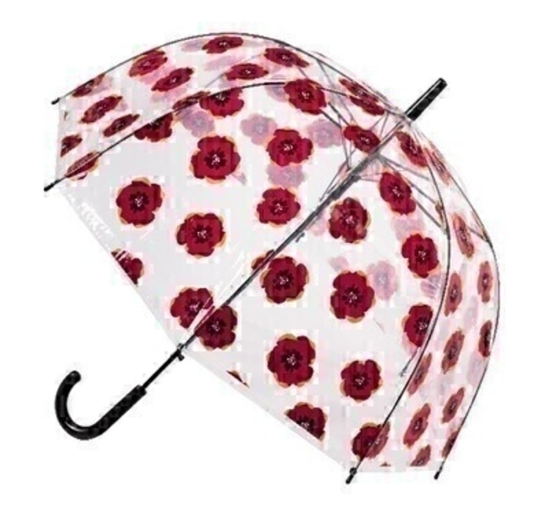 This clear transparent dome Stick Umberella featuring Red Poppies is very eye catching. With virtually unbreakable fibreglass ribs it allows for flexibility in windy conditions. A secure velcro fastening and black handle finish off this stylish design.