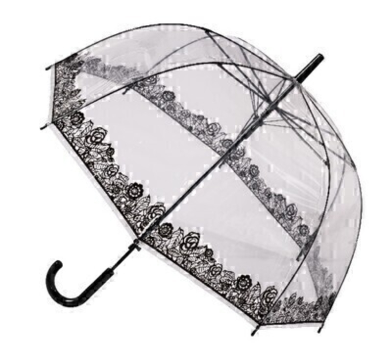 Clear Dome See Through Transparent Lace STICK Umbrella: Booker Gifts