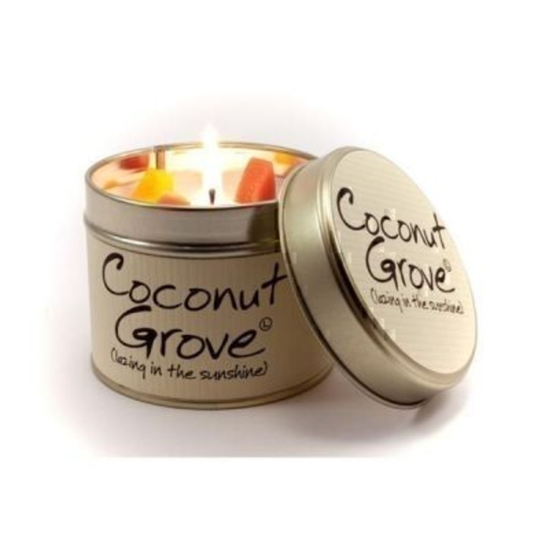 Let Lily Flame scented candles transport you to a different place.  Coconut Grove; Lazing in the Sunshine. Mellow and rich. Clean and not too sweet. Lie back and soak it up. Burn Time 35 hours. Dimensions 7.7 x 6.6cm