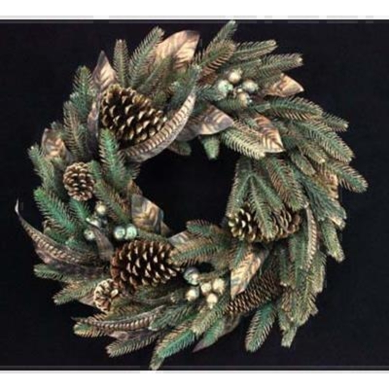 Copper Feather and Pinecone Wreath by Gisela Graham: Booker Gifts