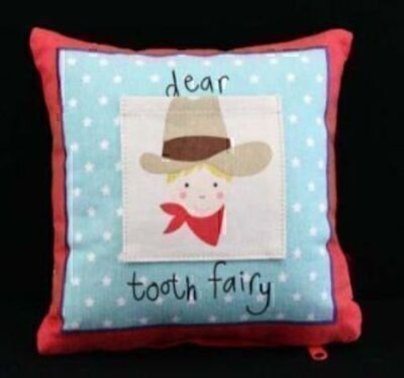 Part of the Gisela Graham Cowboy and Indian range. This tooth Fairy Cushion has a little pocket for your child to put their lost tooth in and the tooth fairy to put the money in. An enchanting gift for a young boy. Cover: 100% Cotton; Filling: 100% Polyes