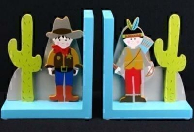 Cowboy And Indian Wooden Bookends By Gisela Graham: Booker Gifts