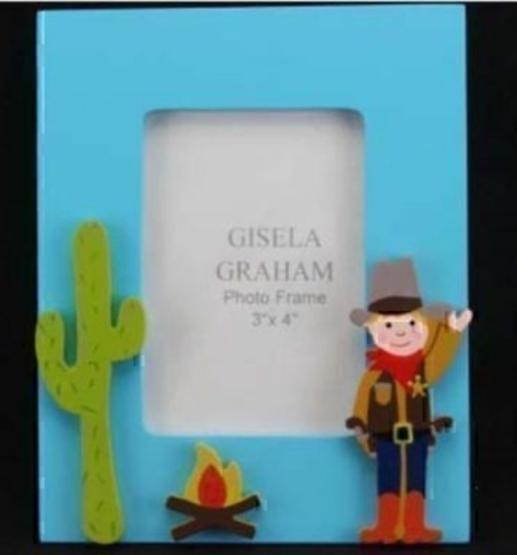 Part of the Cowboys and Indian range by Gisela Graham. A lovely bright blue photo frame with a cut out raised cowboy - cactus and fire. Great decoration gift for a child's room.  Size 13.5x16.5x1.5cm Holds photo size 10x7.5cm