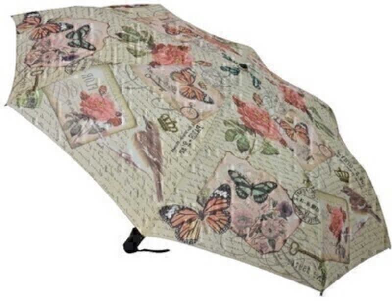 This stunning new compact folding umbrella features a vintage pattern of pink roses and butterflies. This umbrella has virtually unbreakable fibreglass ribs  allowing for flexibility in windy conditions and has automatic opening and closing with a secure velcro fastening and comes complete with a matching sleeve.