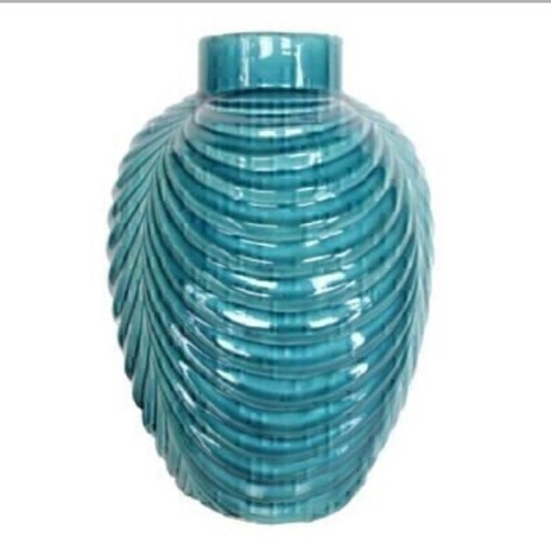 Crackleglaze Teal Ceramic Ribbed Vase Orn - by Gisela Graham: Booker Gifts