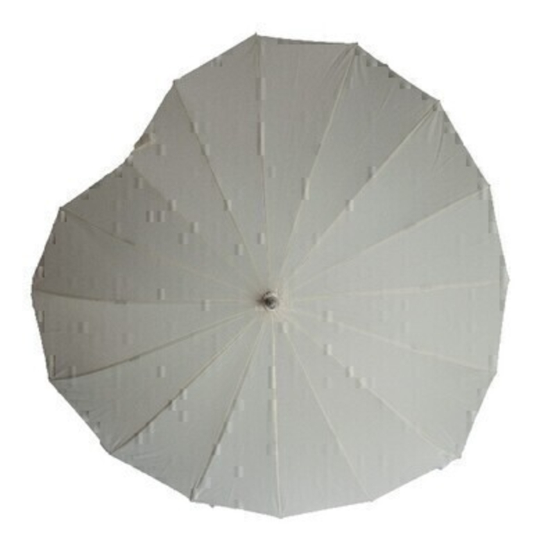 Cream Heart Umbrella STICK by Boutique: Booker Gifts