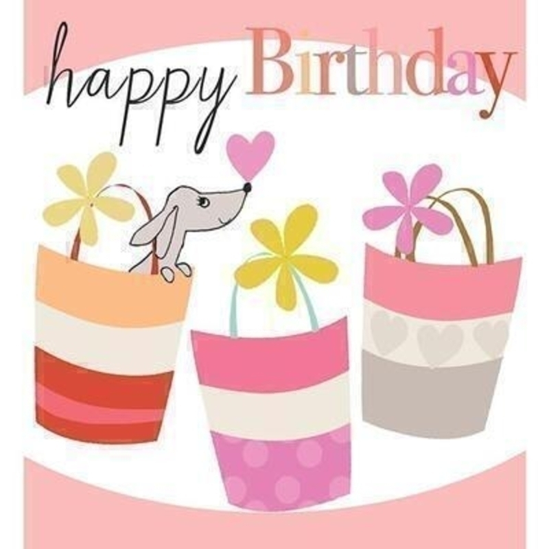 Dog in Bag Happy Birthday card by Liz and Pip. For dog lovers and shopaholics alike. This quality card comes embossed with the words ''Happy Birthday'' and is blank inside for your own message. It comes in a white envelope and measures 120x132mm