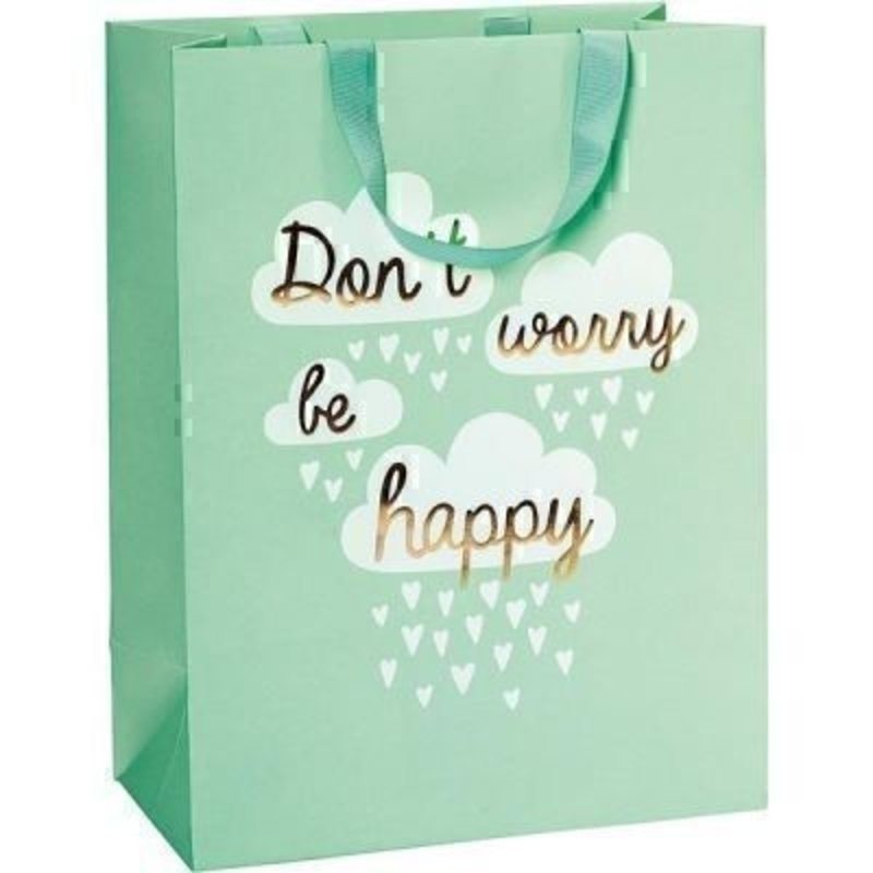 Brighten someone''s day with this beautiful mint green dont worry be happy gift bag by Swiss designer Stewo.With matching ribbon handle and hot foil stamping this bag has all the quality and detailing you would expect from Stewo. Size 25x33x13