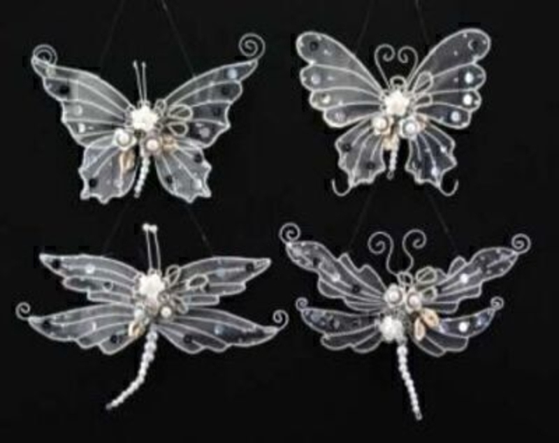 Dragonfly Or Butterfly White Christmas Tree Decoration Gisela Graham: Booker Gifts