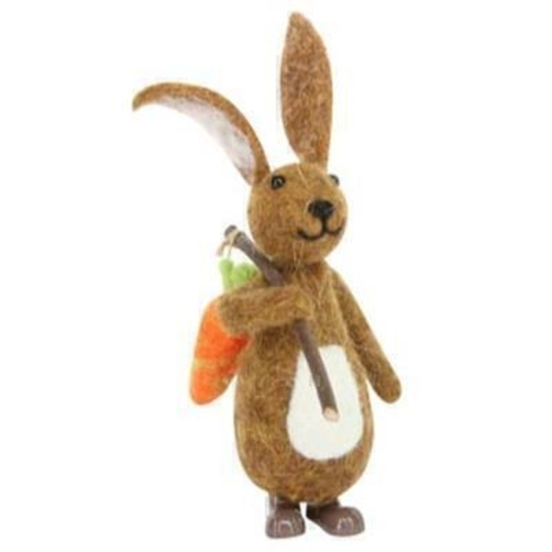 Cute wool Easter bunny rabbit with a carrot on twig by the designer Gisela Graham who designs unique Easter decorations. (LxWxD) 19x9x13cm
