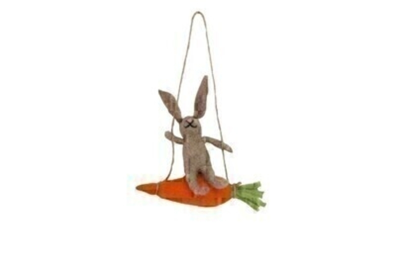 Easter Bunny on Carrot Swing Wool Decoration by Gisela Graham: Booker Gifts