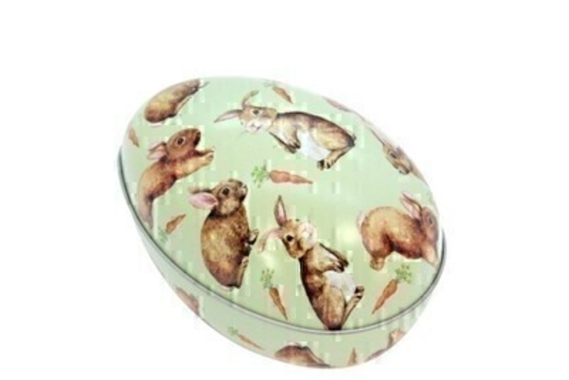 Easter Egg Tin Container With Bunnies by Gisela Graham: Booker Gifts