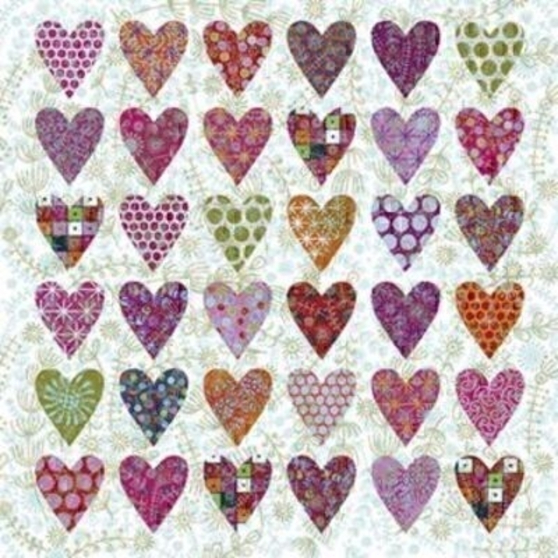 Embossed Hearts Blank Greeting Card by Nancy Nicholson: Booker Gifts
