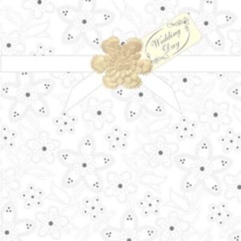 Embossed White Floral Wedding Day Card by Paper Rose. Embossed floral design with silver dots on flowers and a satin ribbon across top with decoupage flower with pearl centre and Wedding Day tag. 'Wedding Day' on the front of card. 'With love on your s