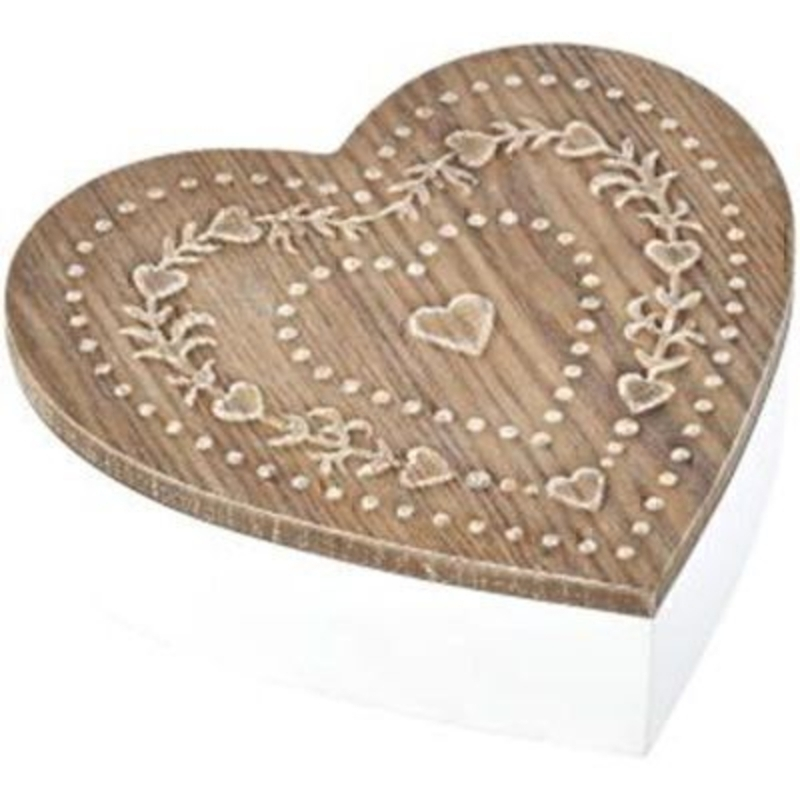 Embossed Wooden Heart Shaped Box by Transomnia. Lovely white wooden box in a heart shape with an natural wood coloured wooden lid that features an embossed heart design. Size: 5.5 x 18 x 17.3cm.